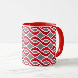 Mitte- des Jahrhundertsmoderne Bänder, rot und Tasse