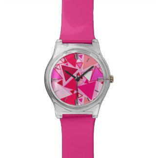 Mitte- des Jahrhundertsmoderne Dreiecke, Rosa und Armbanduhr
