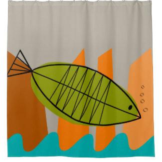 Mitte- des Jahrhundertsmoderne Fisch-Kunst Duschvorhang