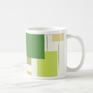 Mitte- des Jahrhundertsmoderne grüne Quadrate Kaffeetasse