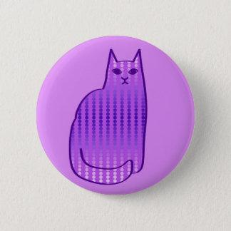 Mitte- des Jahrhundertsmoderne Katze, Orchidee und Runder Button 5,7 Cm