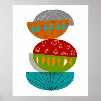 Mitte- des Jahrhundertsmoderne Oval-Kunst Poster