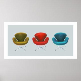 Mitte- des Jahrhundertsmoderne Schwan-Stühle Poster