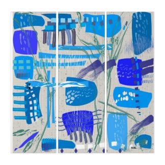 Mitte- des Jahrhundertsmodernes blaues abstraktes Triptychon