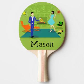 Mitte- des Jahrhundertsmodernes Paar-Klingeln Pong Tischtennis Schläger
