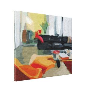 Mitte  Des Jahrhundertsmodernes Wohnzimmer Retro Leinwanddruck