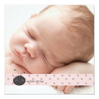 Mitteilung Damen-Bug Square Foto Birth Quadratische 13,3 Cm Einladungskarte