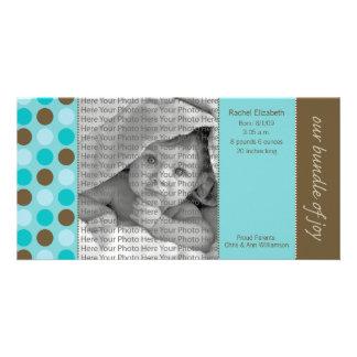 Mitteilung der Geburts-8x4 aquamarin und Brown-Pol Fotokarte