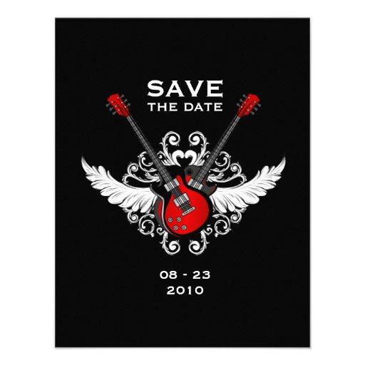 Mitteilung des Rock-and-Roll Save the Date Personalisierte Einladung