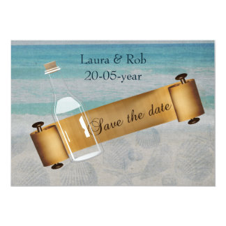 Mitteilung in einer Flasche Strand-Hochzeit 12,7 X 17,8 Cm Einladungskarte