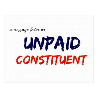 Mitteilung von einer unbezahlten konstituierenden postkarte