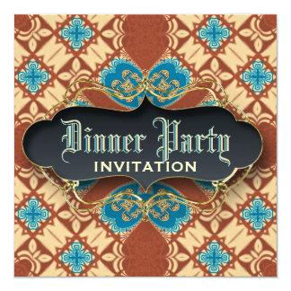 Mittelalterliche Batiktartan-Abendessen-Party Quadratische 13,3 Cm Einladungskarte