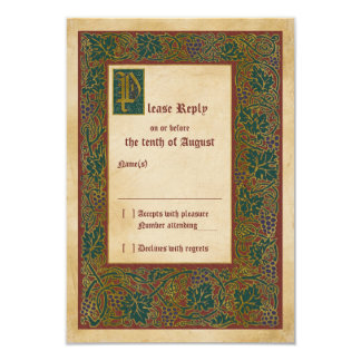 Mittelalterliche belichtetes Manuskript-Hochzeit 8,9 X 12,7 Cm Einladungskarte