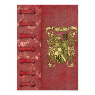 Mittelalterliche Bucheinband-Hochzeits-Einladungen 12,7 X 17,8 Cm Einladungskarte