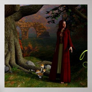Mittelalterliche Dame Fantasy Art Forest Poster