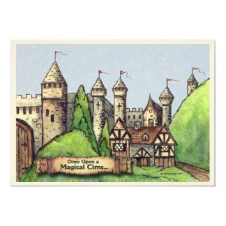 Mittelalterliche Dorf-Malerei 12,7 X 17,8 Cm Einladungskarte