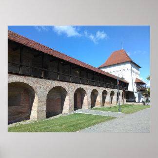 Mittelalterliche Festungs-Wand und Bastion Poster