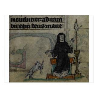 Mittelalterliche Frau, die mit Katze spinnt Postkarte