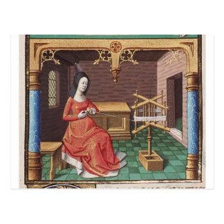 Mittelalterliche Frau wickelt Garn Postkarte