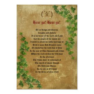 Mittelalterliche Hochzeit 12,7 X 17,8 Cm Einladungskarte