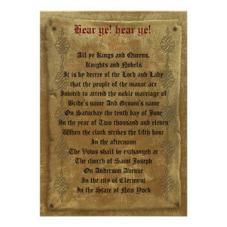 Mittelalterliche Hochzeit Personalisierte Einladungskarten