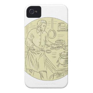 Mittelalterliche Koch-Küchen-ovales Zeichnen Case-Mate iPhone 4 Hülle