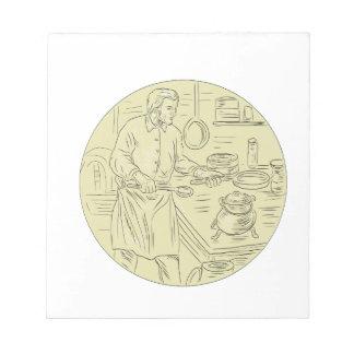 Mittelalterliche Koch-Küchen-ovales Zeichnen Notizblock