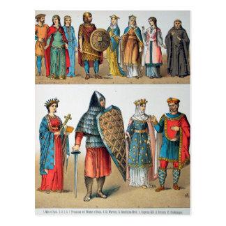 Mittelalterliche Kostüme Postkarte