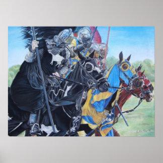 mittelalterliche Ritter, die auf Poster