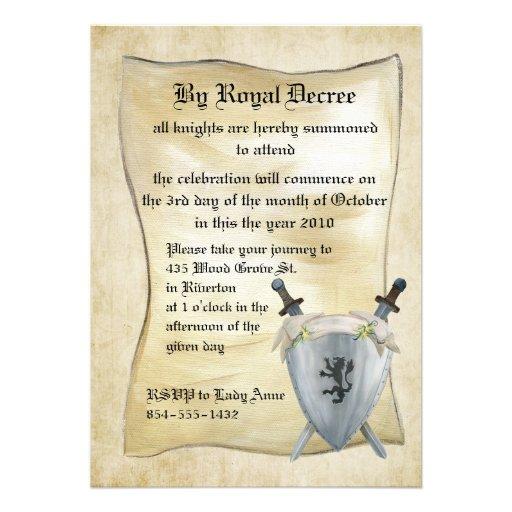 Mittelalterliche Ritter-Geburtstags-Einladung