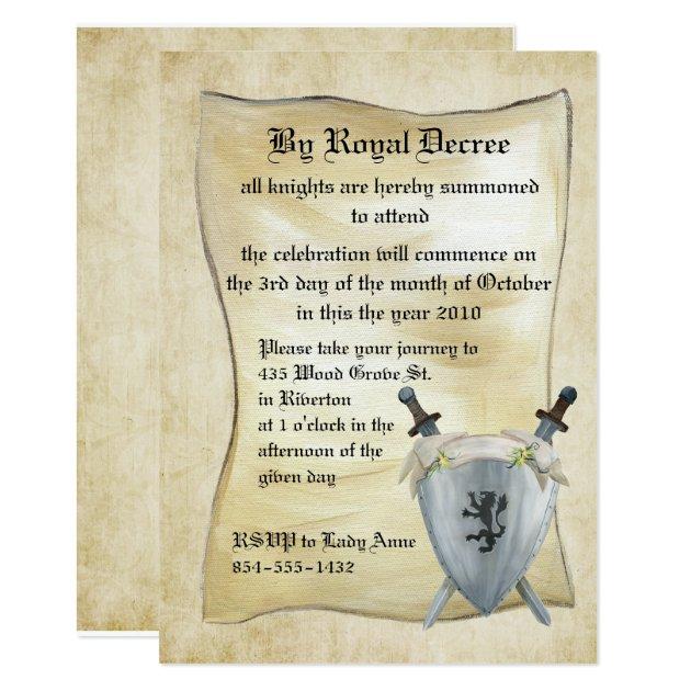 Mittelalterliche Ritter-Geburtstags-Einladung 12,7 X 17,8 Cm Einladungskarte   Zazzle