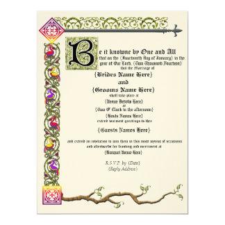 Mittelalterliche Rolle-Hochzeits-Einladung 16,5 X 22,2 Cm Einladungskarte
