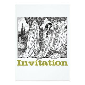 Mittelalterliche Schwarzweiss-Moden 12,7 X 17,8 Cm Einladungskarte