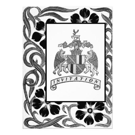 Mittelalterliche Wappen-Hochzeit lädt ein Personalisierte Einladung