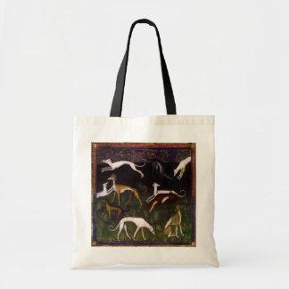 Mittelalterliche Windhund-schöne Kunst Leinentaschen
