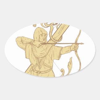 Mittelalterlicher Bogenschütze, der Bogen-und Ovaler Aufkleber