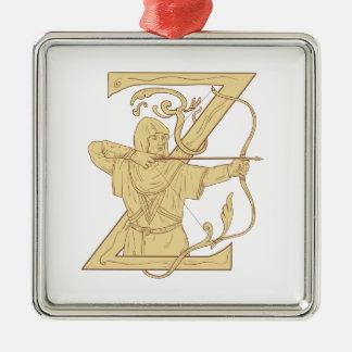 Mittelalterlicher Bogenschütze, der Bogen-und Silbernes Ornament