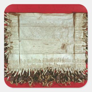 Mittelalterlicher Buchstabe des Protestes vom Quadratsticker