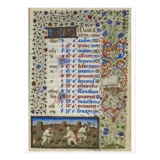 Mittelalterlicher Kalender: März Postkarte