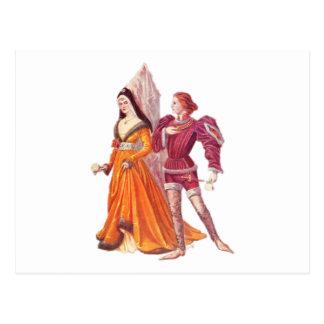Mittelalterlicher Lord und Dame Postkarte