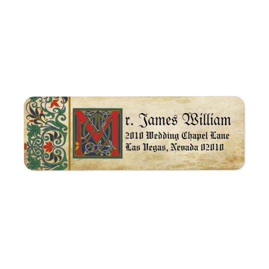 Mittelalterlicher Manuskript-Hochzeits-Aufkleber