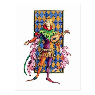 Mittelalterlicher Minnesänger und Dichtungskitt Postkarte