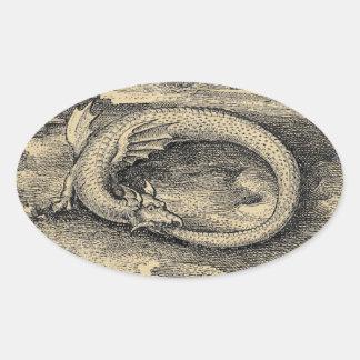 Mittelalterlicher Ouroboros Drache Ovaler Aufkleber