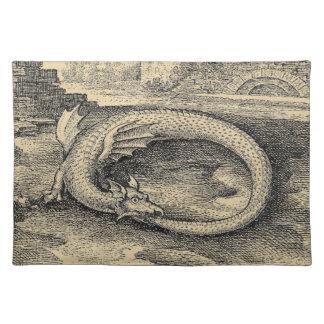 Mittelalterlicher Ouroboros Drache Stofftischset