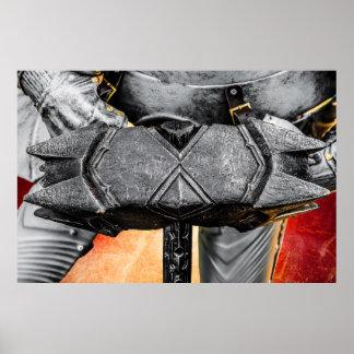 Mittelalterlicher Ritter mit einem warhammer Poster