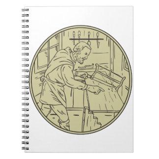 Mittelalterlicher Tischlersawing-hölzerner Kreis Notizblock
