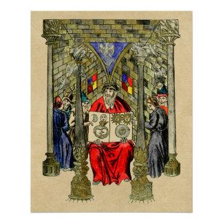 Mittelalterliches Buch von Alchimie Poster