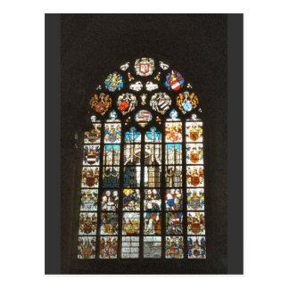 Mittelalterliches Buntglasfenster, Holland Postkarte
