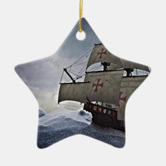 Mittelalterliches Carrack im Sturm Keramik Stern-Ornament
