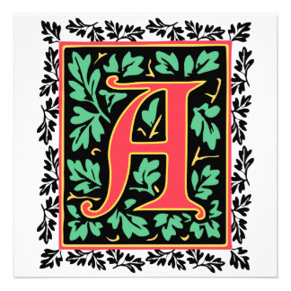 Mittelalterliches gedenkwürdiges r-Monogramm Personalisierte Ankündigungskarte